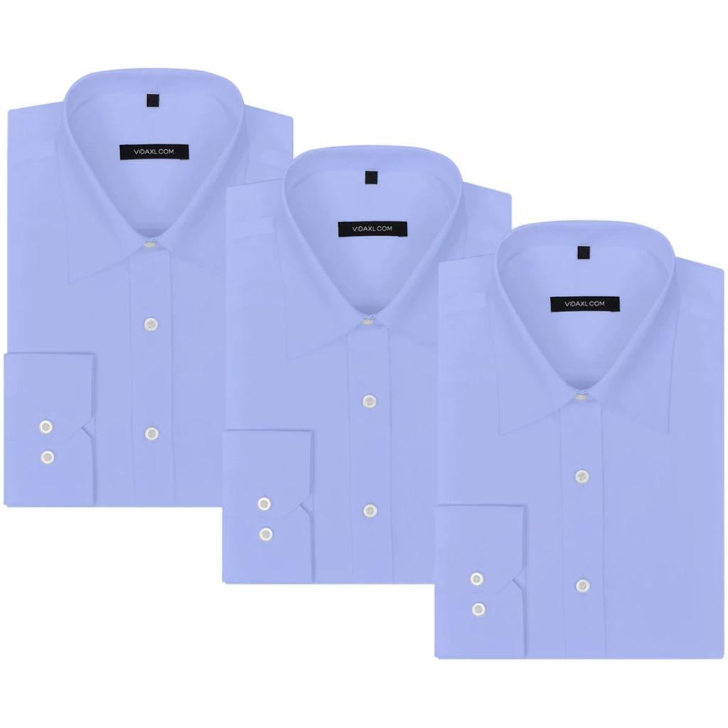 vidaXL Pánska business košeľa, 3 ks, veľkosť XL, bledomodrá