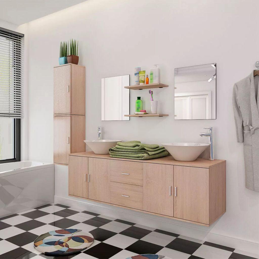 11-dielna béžová sada kúpeľového nábytku s umývadlom a batériou vidaXL