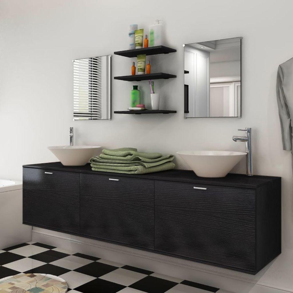 10-dielna čierna sada kúpeľového nábytku s umývadlom a batériou vidaXL