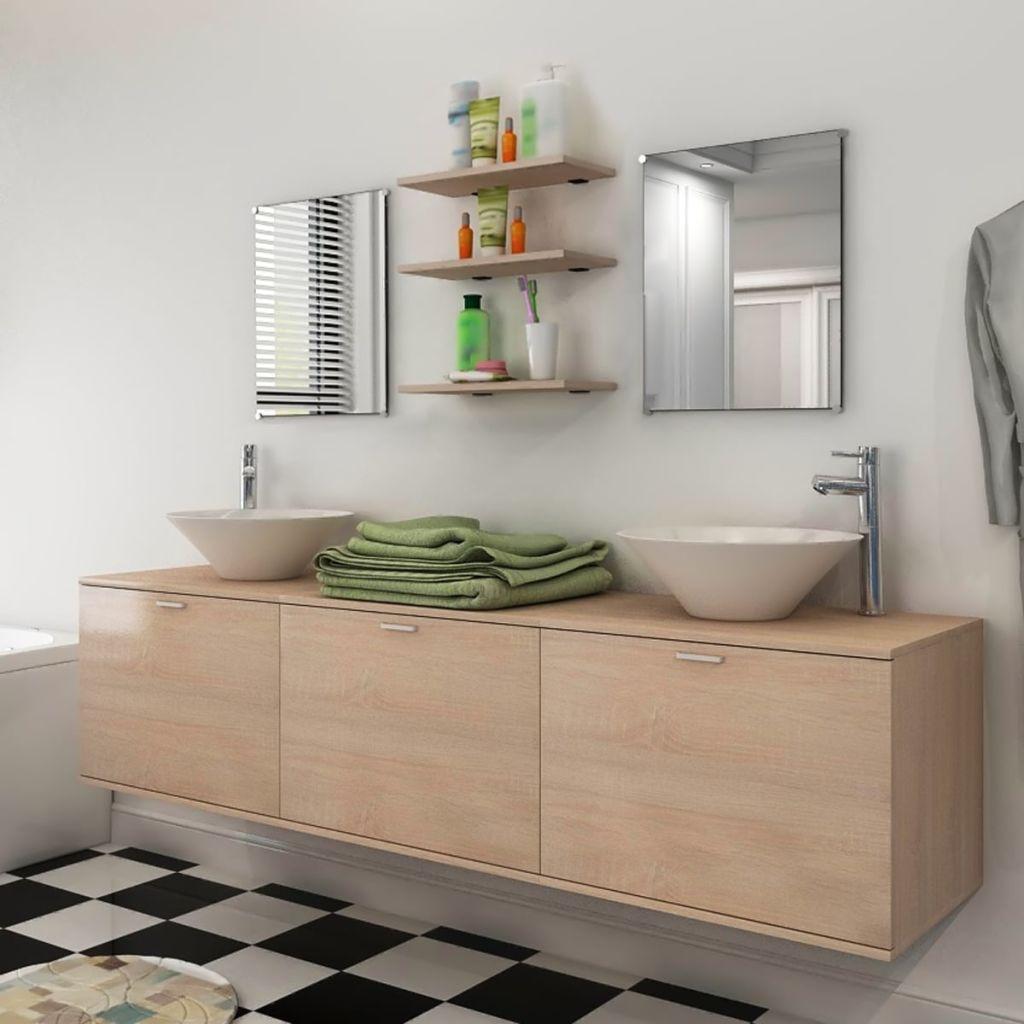 10-dielna béžová sada kúpeľového nábytku s umývadlom a batériou vidaXL