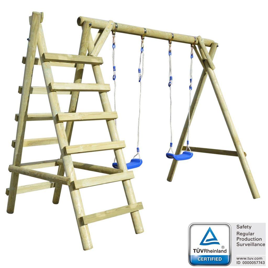 vidaXL Súprava detských hojdačiek s rebríkmi, 268x154x210 cm, borovicové drevo (91115+91118)