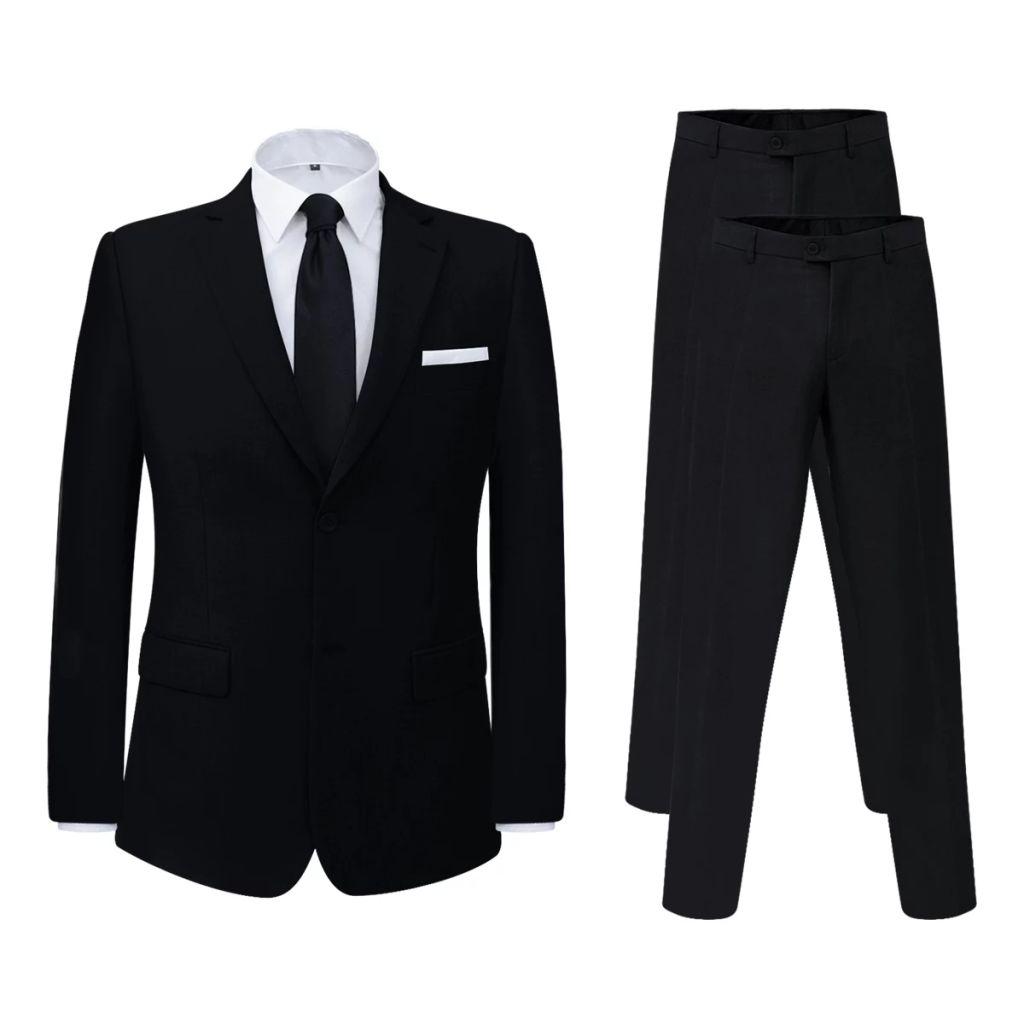 vidaXL Pánsky dvojdielny formálny oblek s 2 nohavicami, čierny, veľkosť 52 (131118+131136)