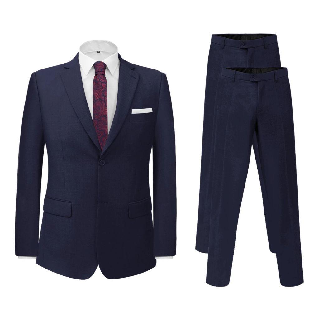 vidaXL Pánsky dvojdielny formálny oblek s 2 nohavicami, námornícka modrá, veľkosť 46 (131127+131145)