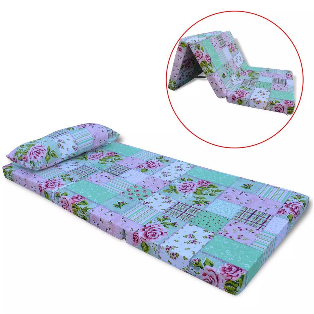 vidaXL Detský skladací matrac s kvetinovým vzorom