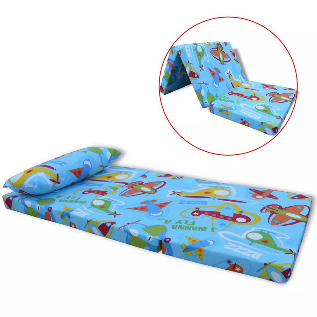 vidaXL Detský skladací matrac s lietadlovým vzorom