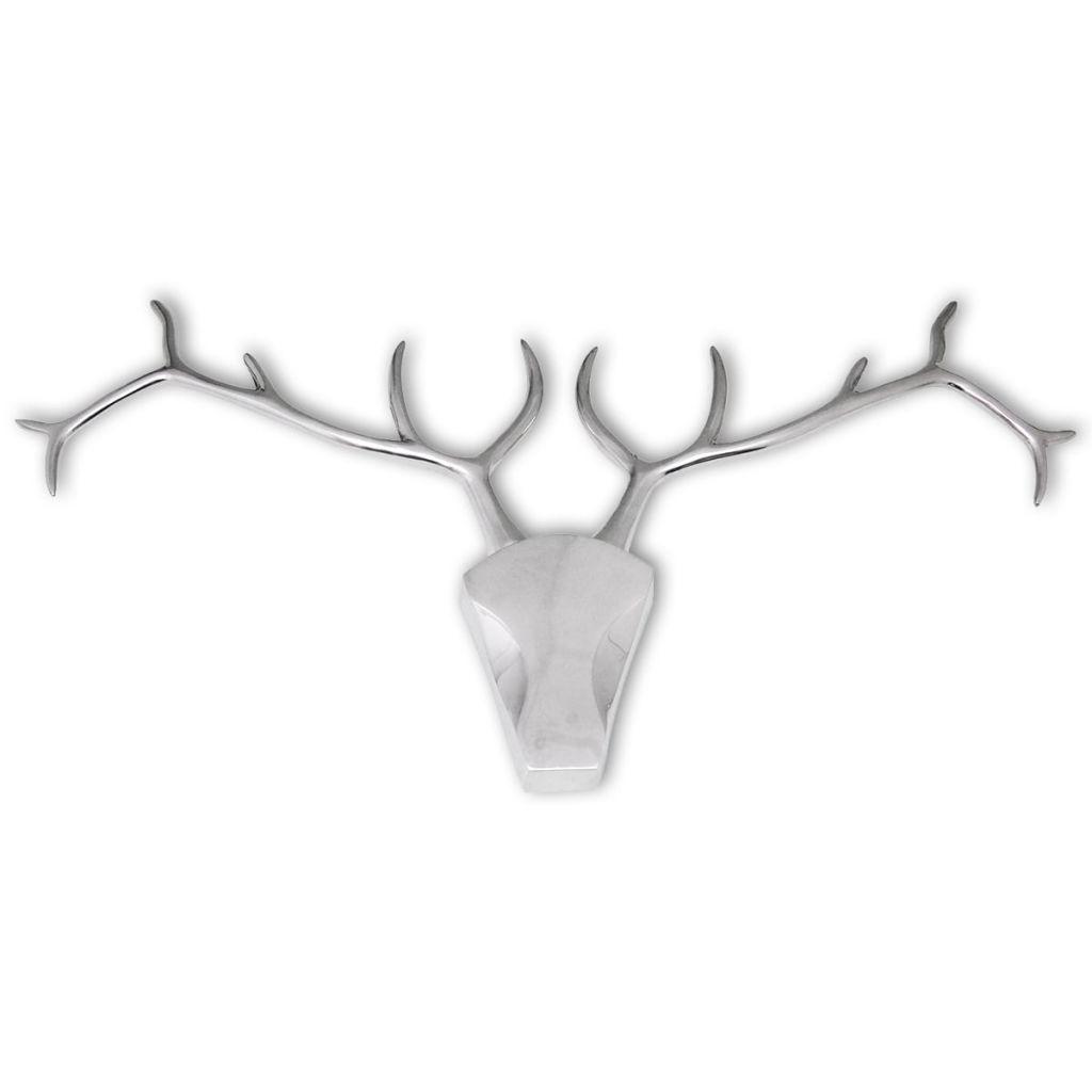 vidaXL Nástenná dekorácia hlavy jeleňa, hliníková strieborná