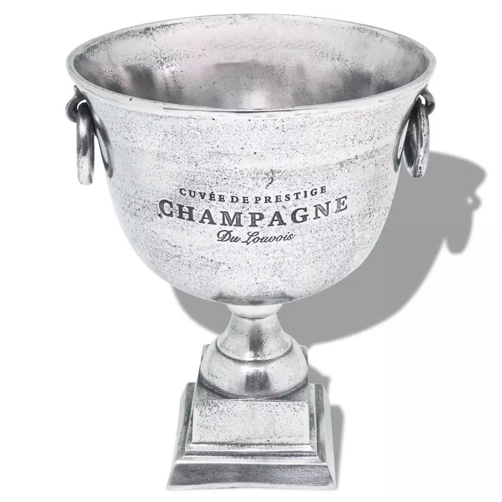 vidaXL Chladič na šampanské v tvare víťazného pohára, hliník, strieborný