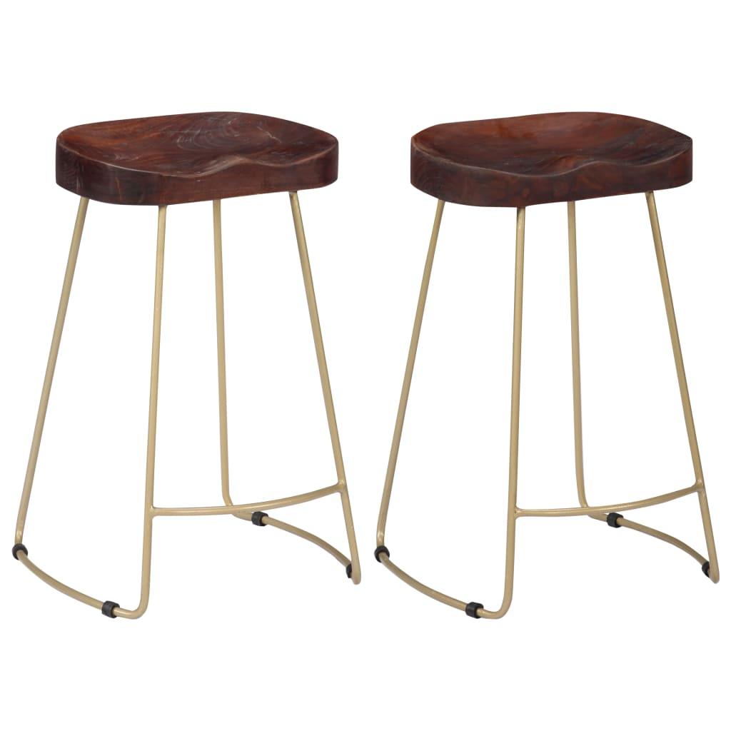 vidaXL Barové stoličky Gavin mangovníkové drevo 2 ks 46x38x52 cm