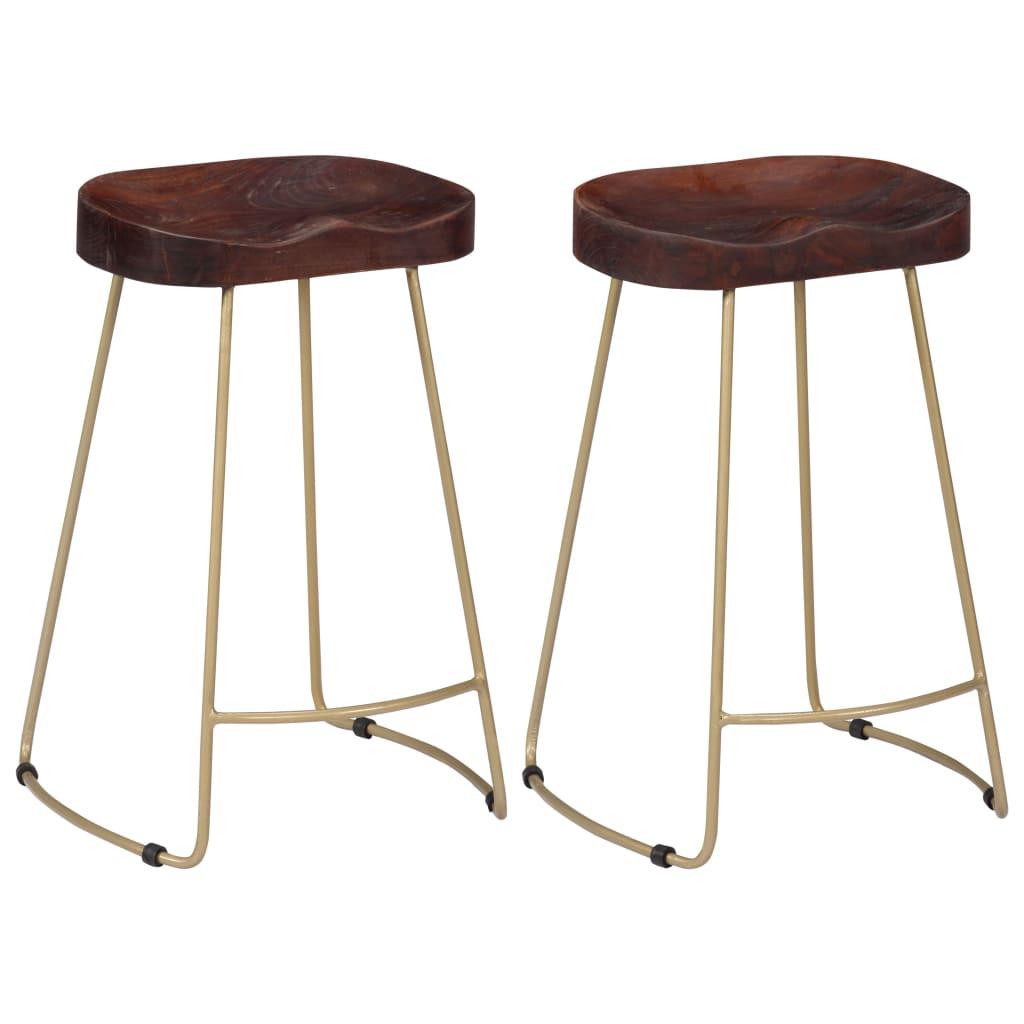 vidaXL Barové stoličky Gavin 2 ks 45x40x62 cm masívne mangovníkové drevo
