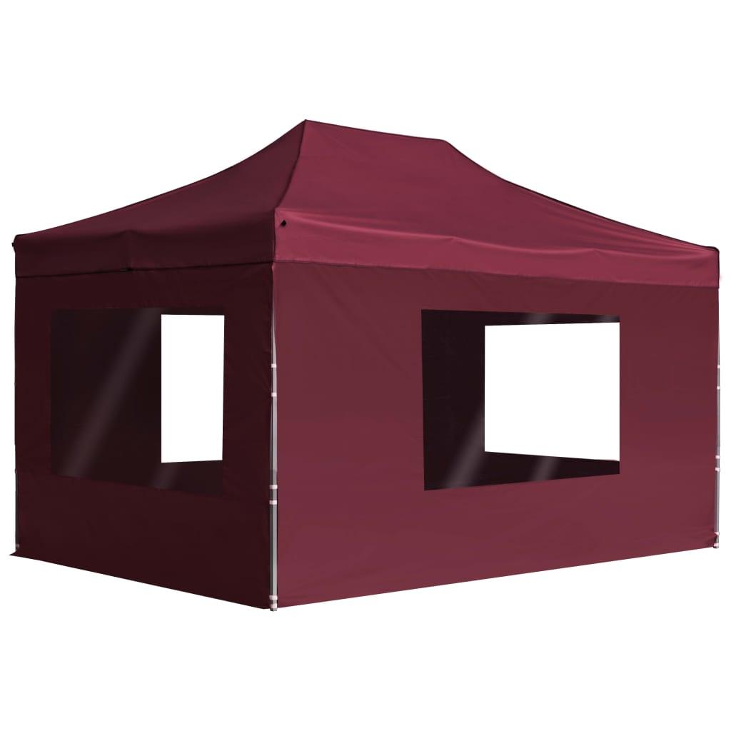 vidaXL Profesionálny skladací stan+steny,hliník 4,5x3m, vínovo červený