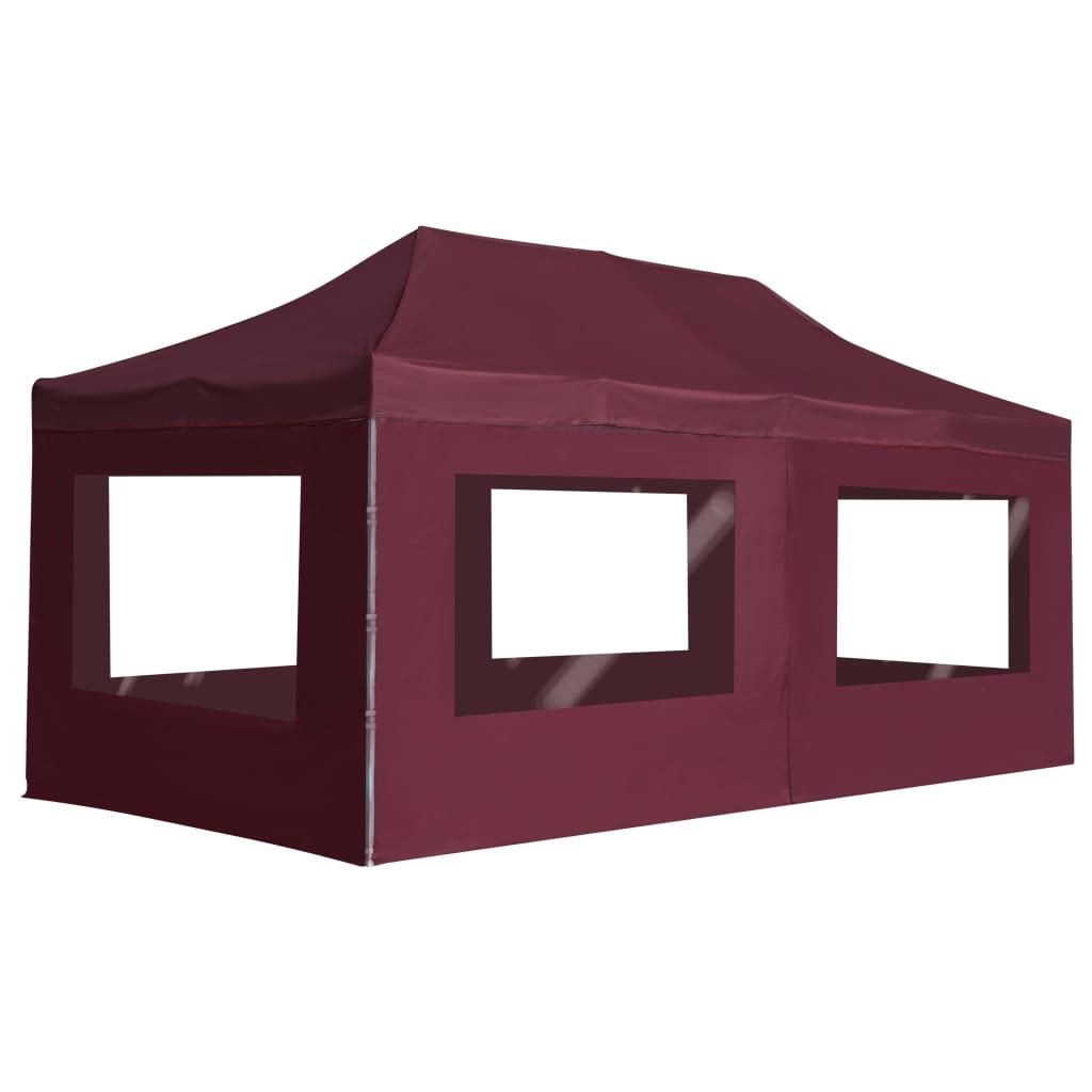 vidaXL Profesionálny skladací stan+steny, hliník 6x3 m, vínovo červený