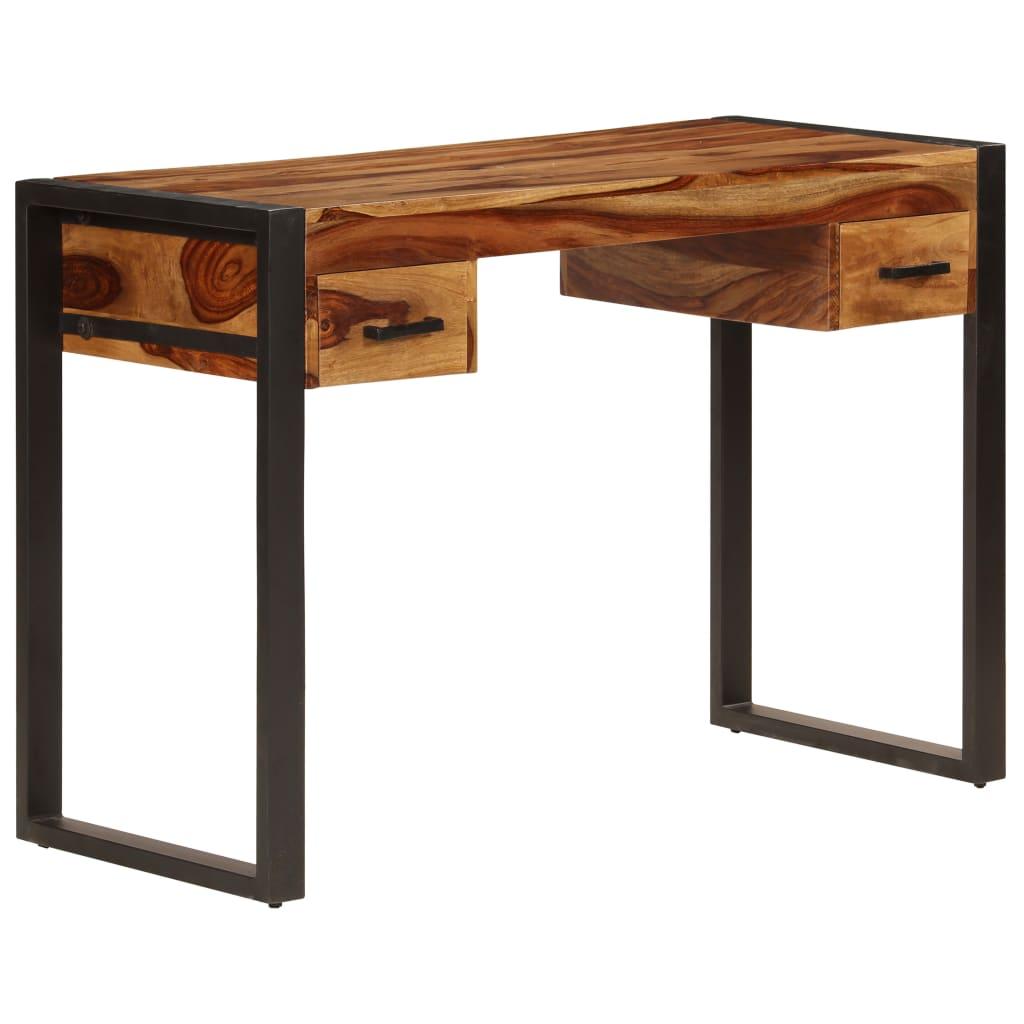 vidaXL Stôl s 2 zásuvkami 110x50x77 cm masívne sheeshamové drevo