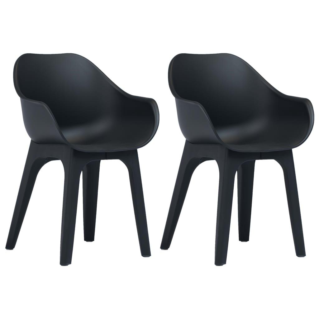 vidaXL Záhradné stoličky s opierkami 2 ks antracitové plastové