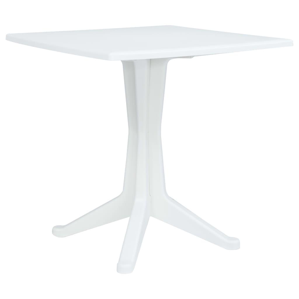 vidaXL Záhradný stôl biely 70x70x71,7 cm plastový