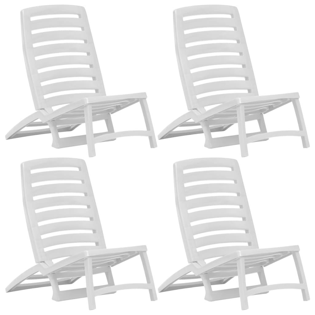 vidaXL Skladacie plážové stoličky 4 ks biele plastové