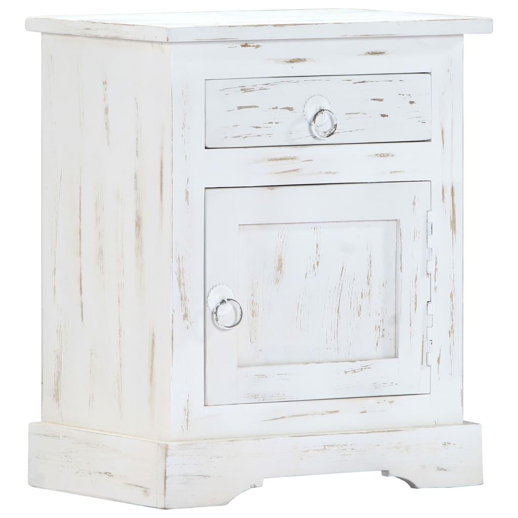 vidaXL Nočný stolík biely 40x30x50 cm masívne mangovníkové drevo