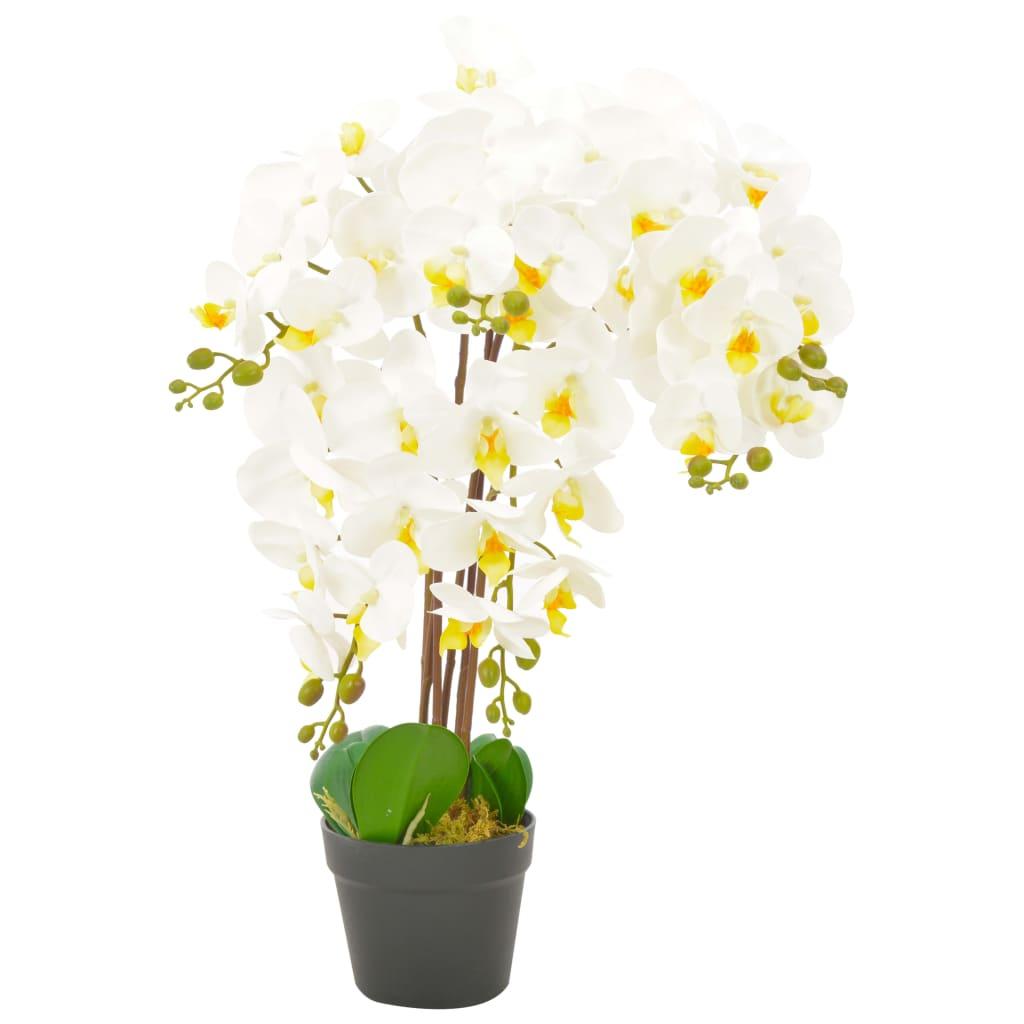 vidaXL Umelá rastlina orchidea s kvetináčom 60 cm biela