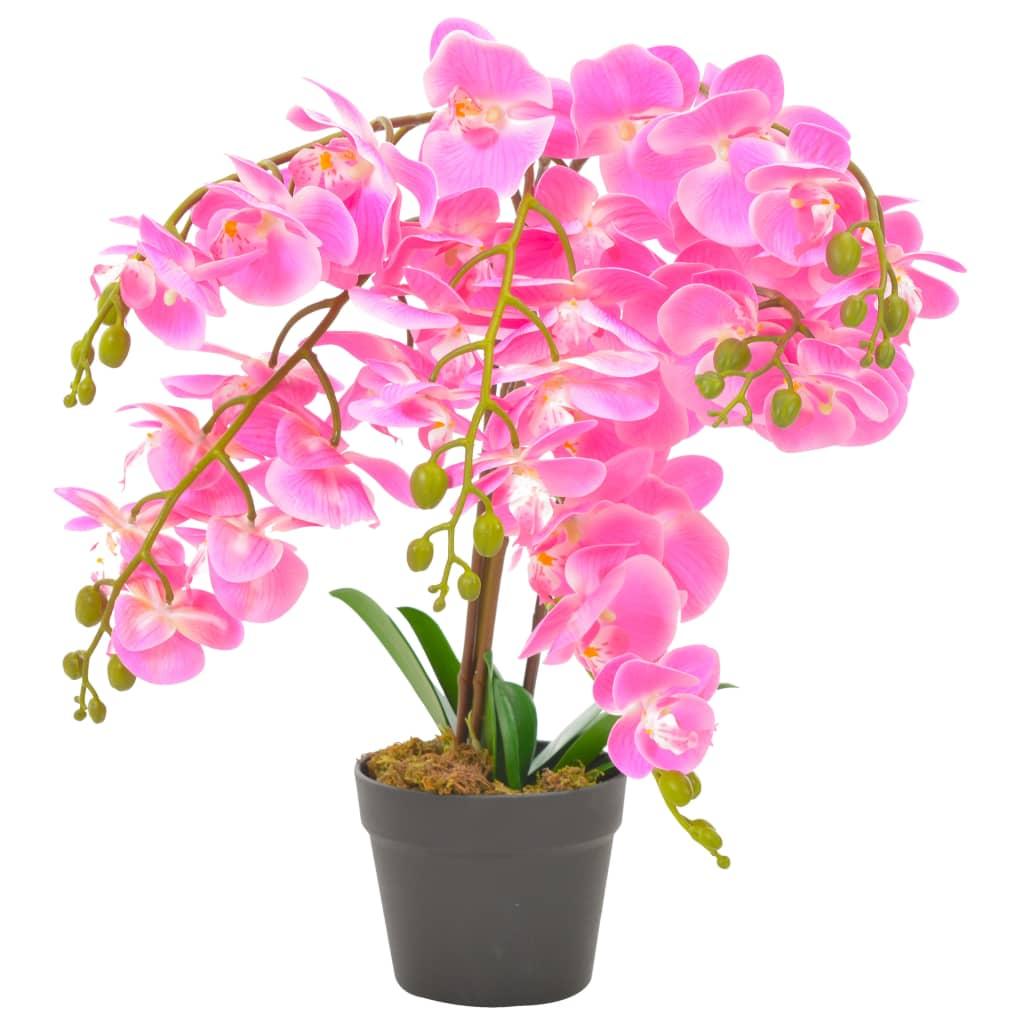 vidaXL Umelá rastlina orchidea s kvetináčom 60 cm ružová