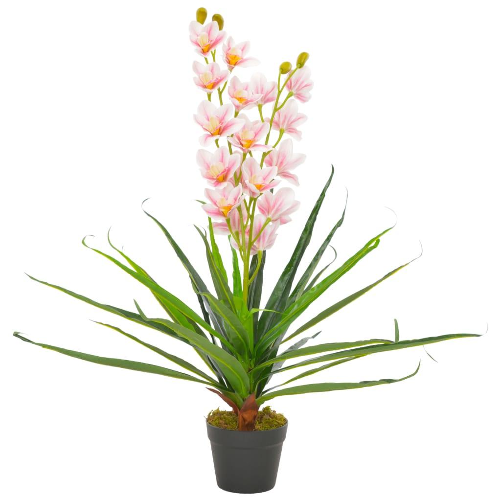 vidaXL Umelá rastlina orchidea s kvetináčom 90 cm ružová