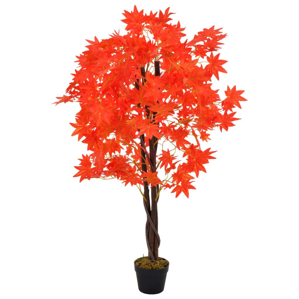 vidaXL Umelá rastlina javorový strom s kvetináčom 120 cm červený