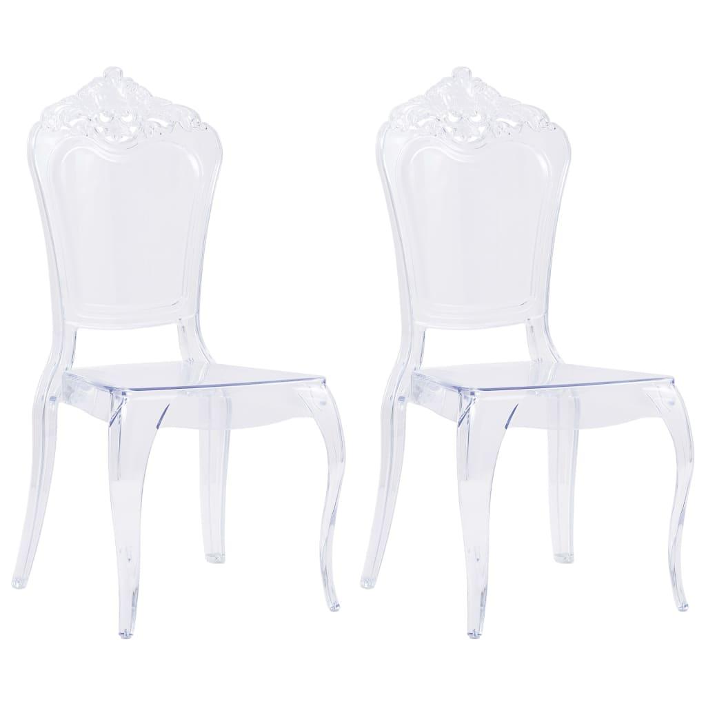 vidaXL Jedálenské stoličky 2 ks, priehľadné, polykarbonát