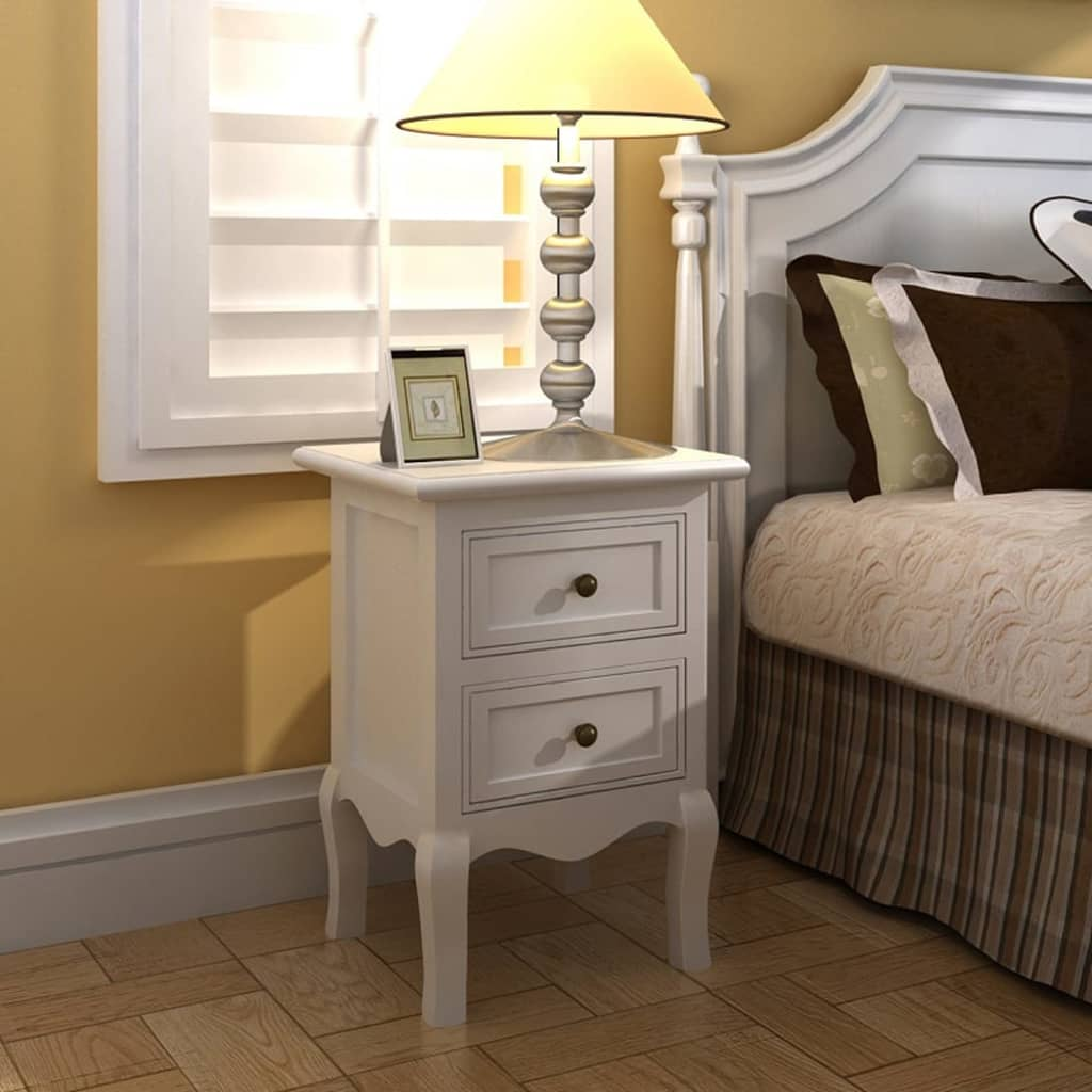 vidaXL 4 ks nočné stolíky biele MDF s 2 zásuvkami