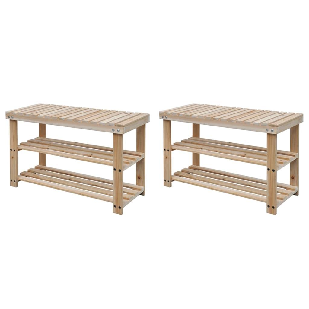 vidaXL Botník s lavičkou 2-v-1 masívne drevo 2 ks