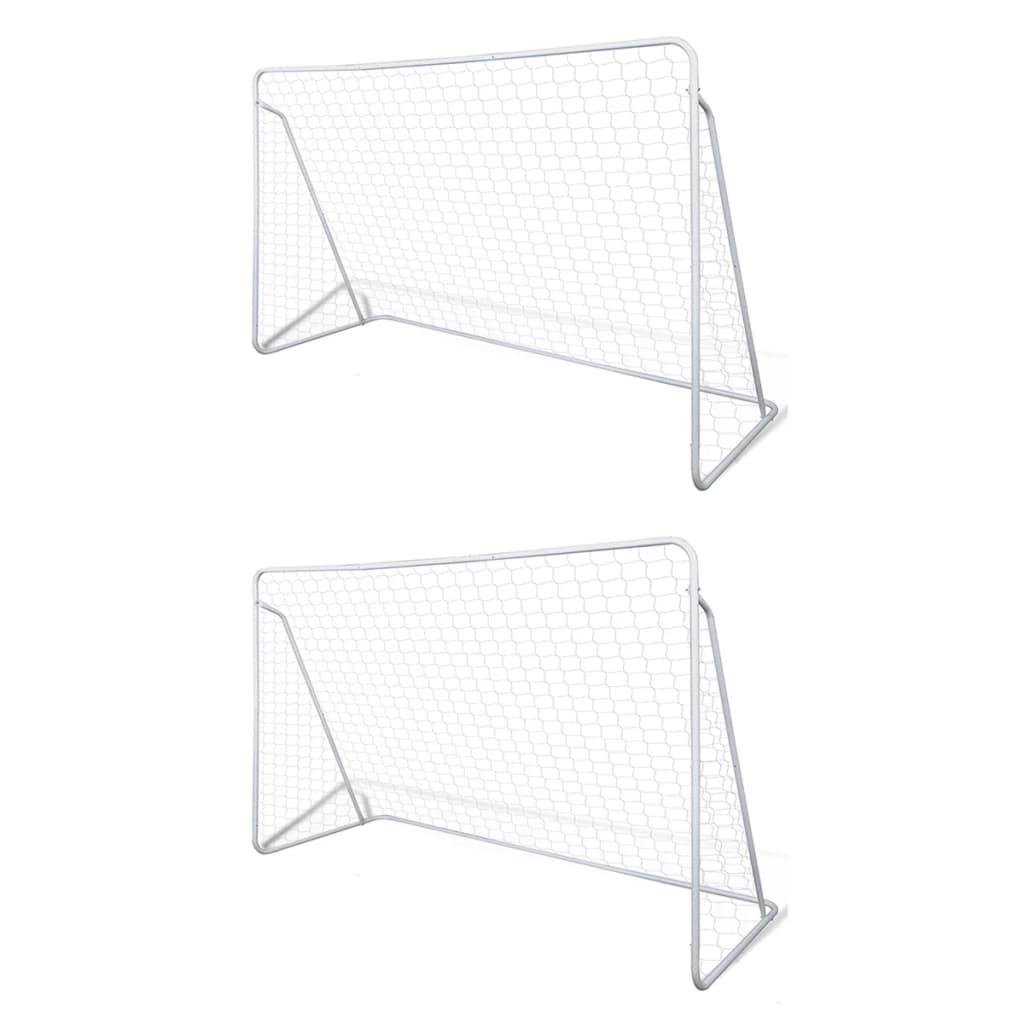 vidaXL Futbalové bránky oceľové 2 ks 240x90x150 cm