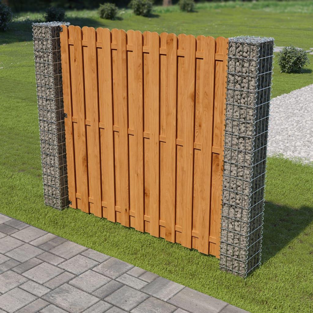 vidaXL Gabiónový plotový panel pozinkovaná oceľ a drevo 180x180 cm