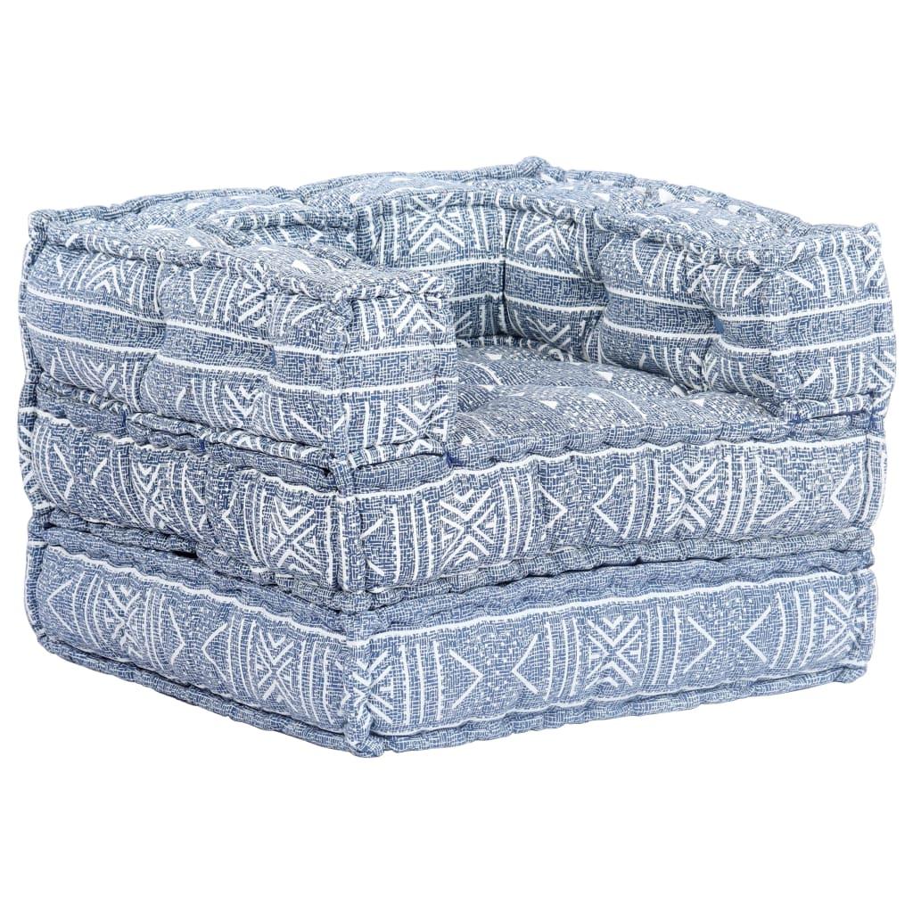 vidaXL Modulárna rozkladacia pohovka indigovo-modrá textilná zlátanina