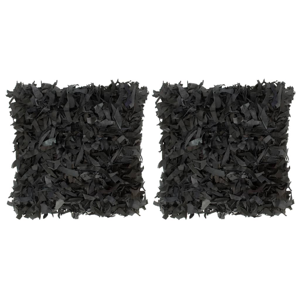 vidaXL Vankúše so strapcami 2 ks čierne 45x45 cm koža a bavlna