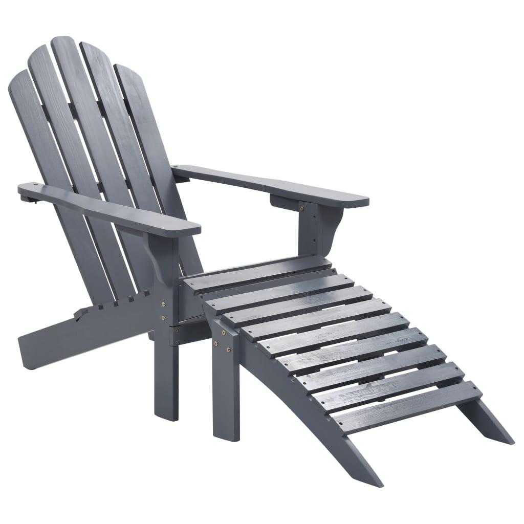 vidaXL Záhradná stolička s taburetkou sivá drevená