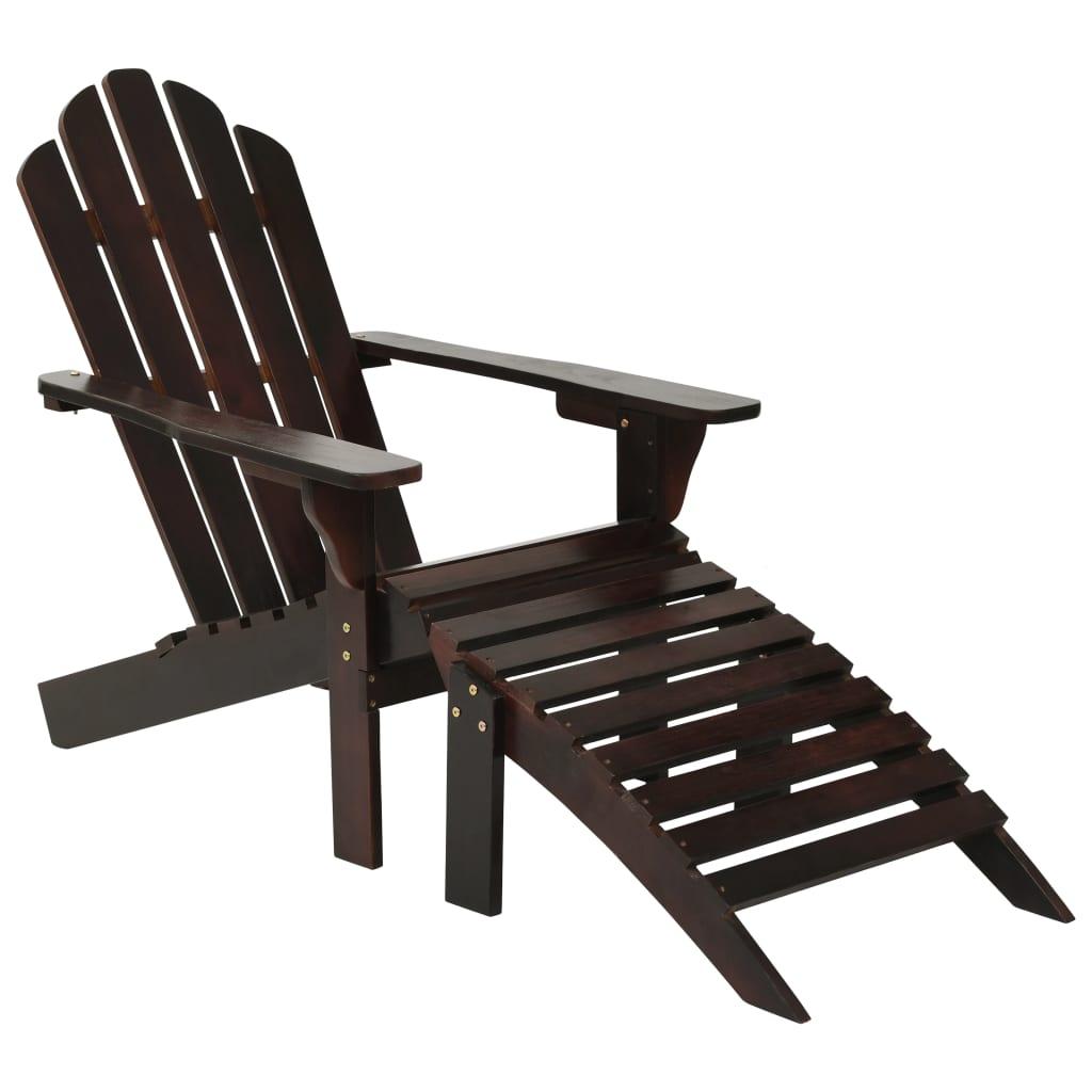vidaXL Záhradná stolička s taburetkou hnedá drevená