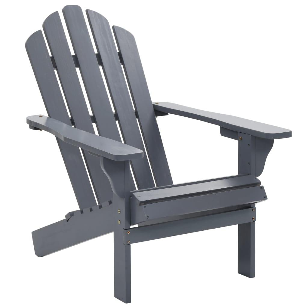 vidaXL Záhradná stolička sivá drevená