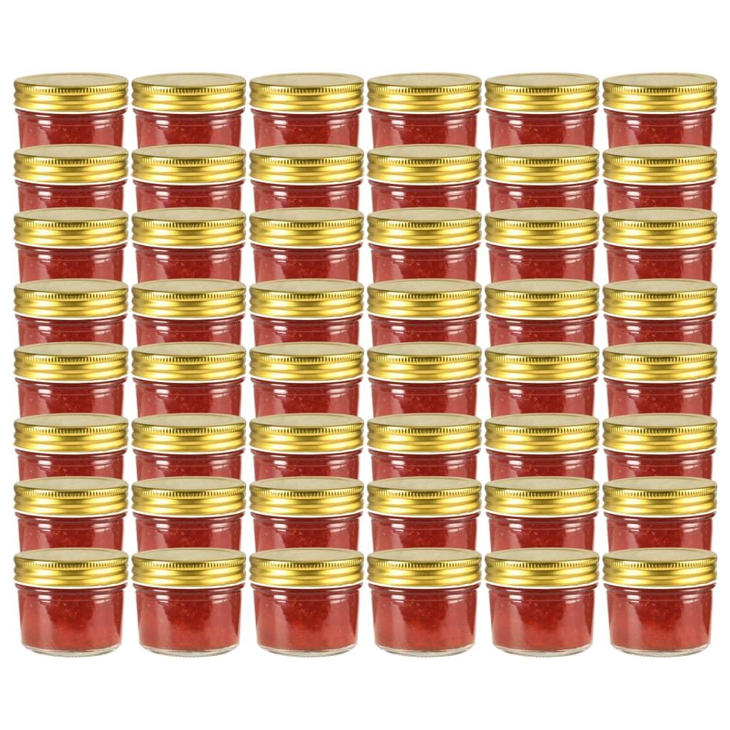 vidaXL Sklenené zaváracie poháre so zlatými viečkami 48 ks 110 ml