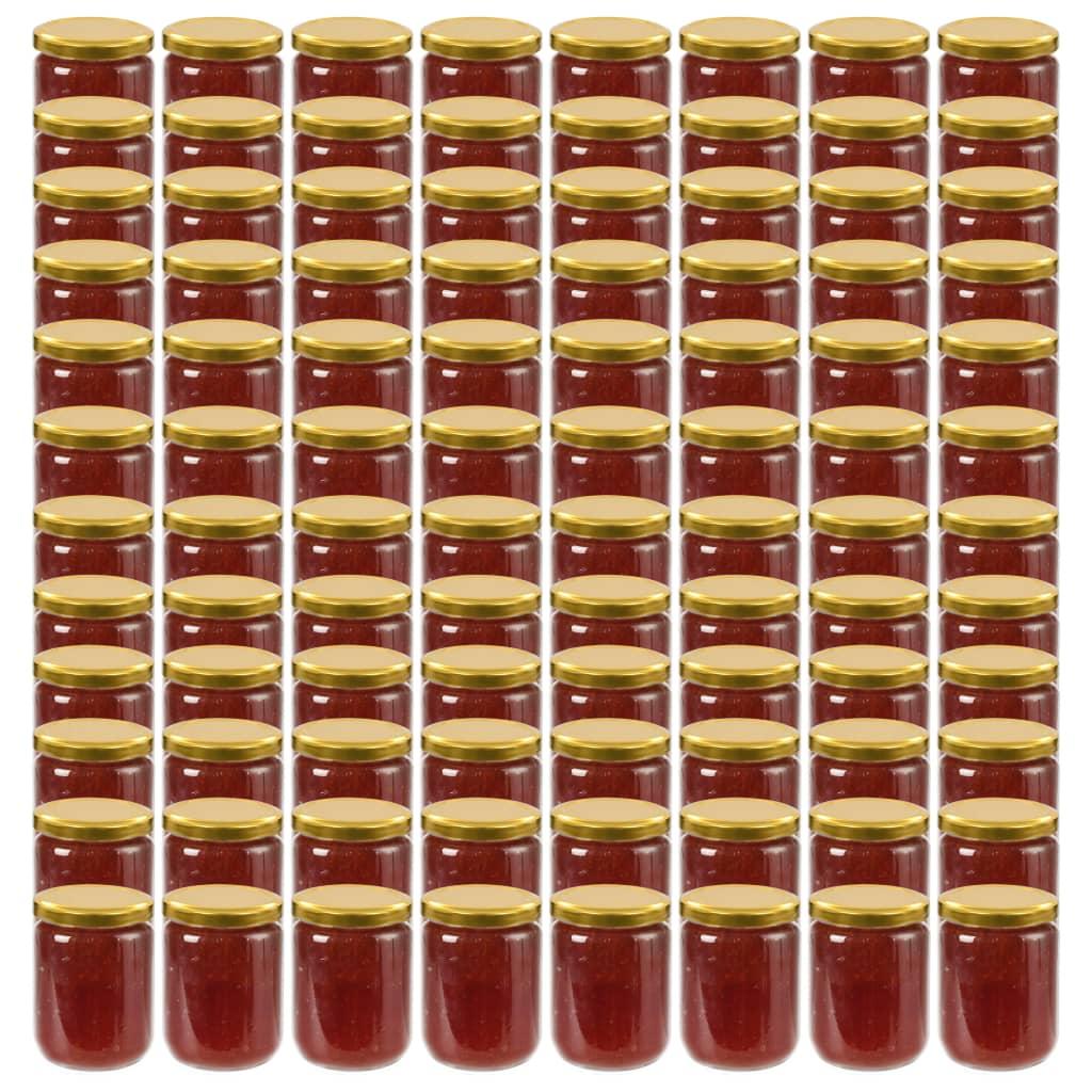 vidaXL Zaváracie poháre so zlatými viečkami 96 ks 230 ml sklo
