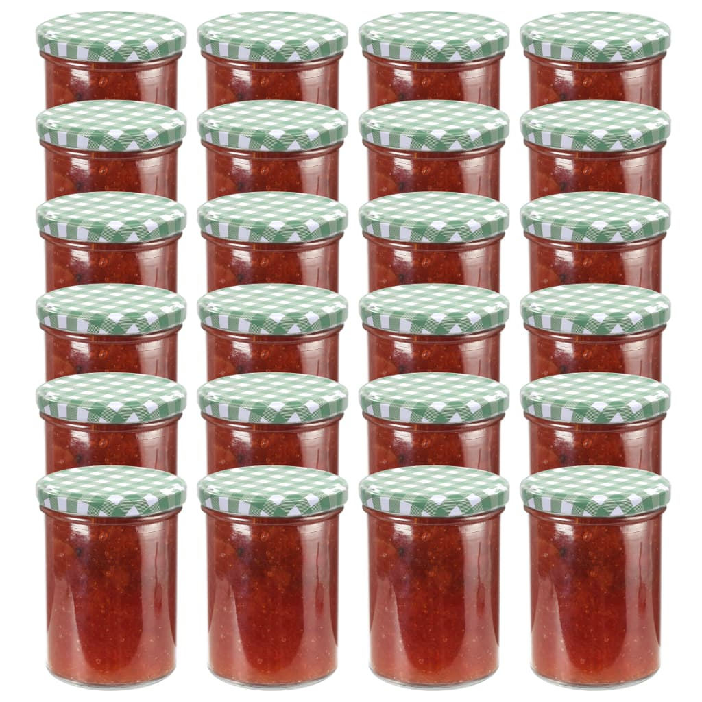 vidaXL Zaváracie poháre s bielo-zelenými viečkami 24 ks 400 ml sklo