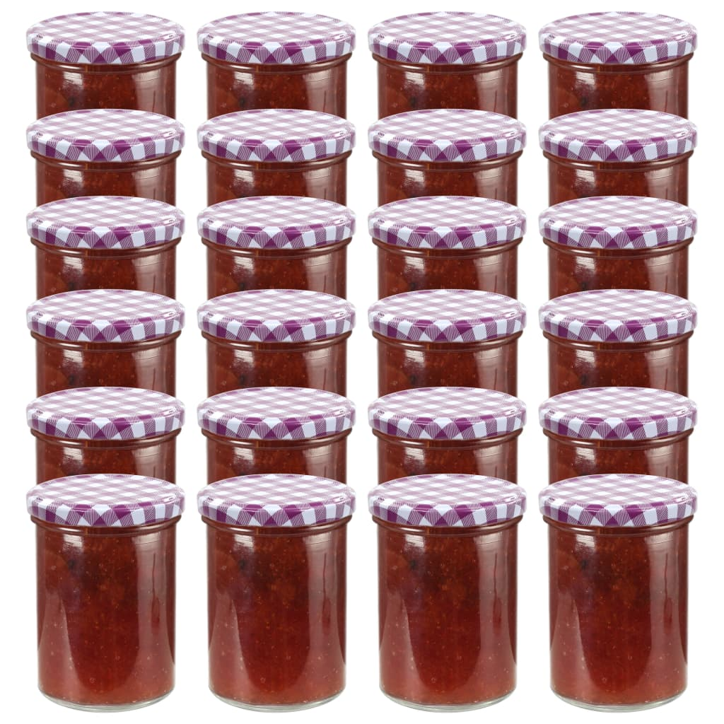 vidaXL Zaváracie poháre s bielo-fialovými viečkami 24 ks 400 ml sklo