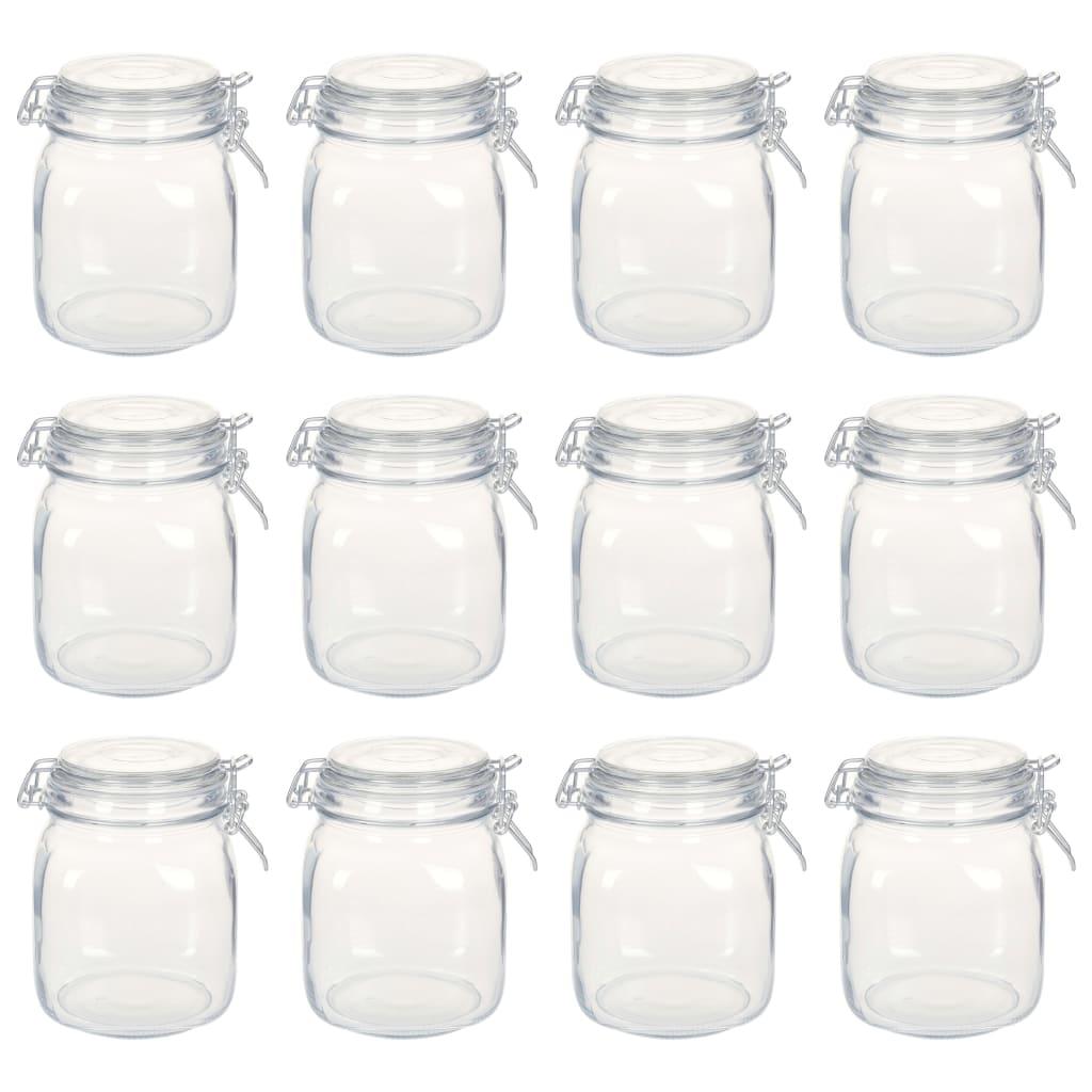 vidaXL Sklenené poháre s uzávermi 12 ks 1 l