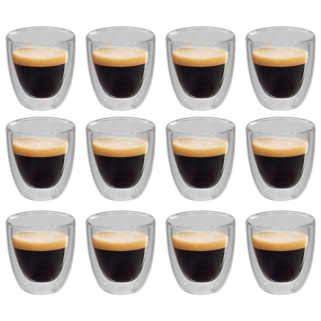 vidaXL Dvostenné termo poháre na kávu 12 ks 80 ml