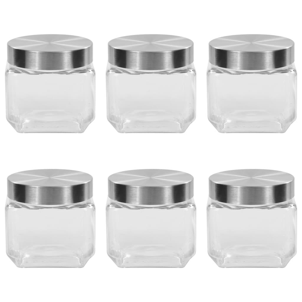 vidaXL Skladovacie poháre so striebornými viečkami 6 ks 800 ml