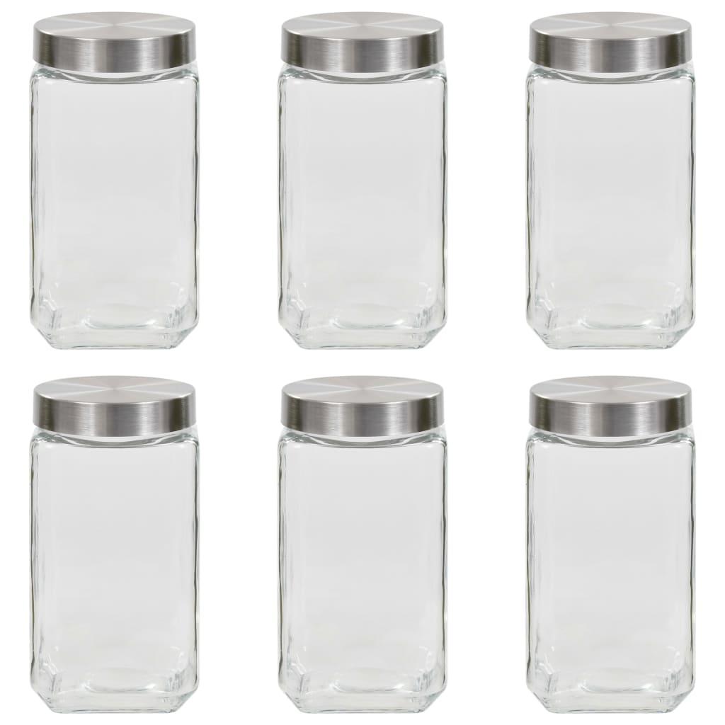 vidaXL Skladovacie poháre so striebornými viečkami 6 ks 2100 ml