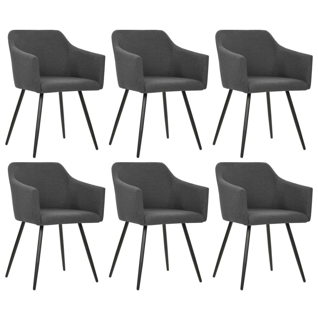 vidaXL Jedálenské stoličky 6 ks tmavosivé látkové