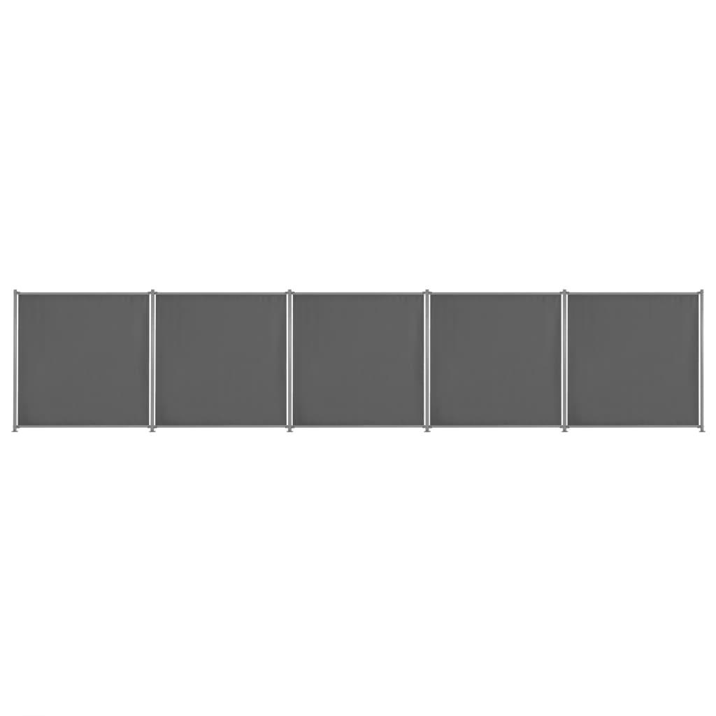 vidaXL Plotový panel 5 ks látkový 900x180 cm antracitový