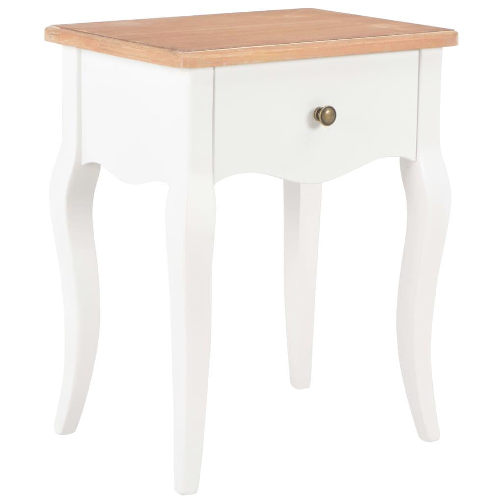 vidaXL Nočný stolík bielo-hnedý 40x30x50 cm masívne borovicové drevo