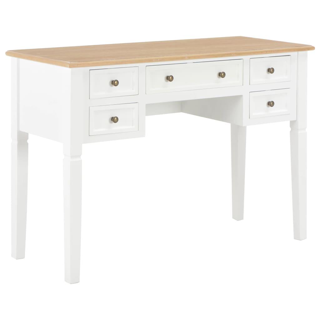 vidaXL Písací stôl, hnedý a biely 109,5x45x77,5 cm, drevo