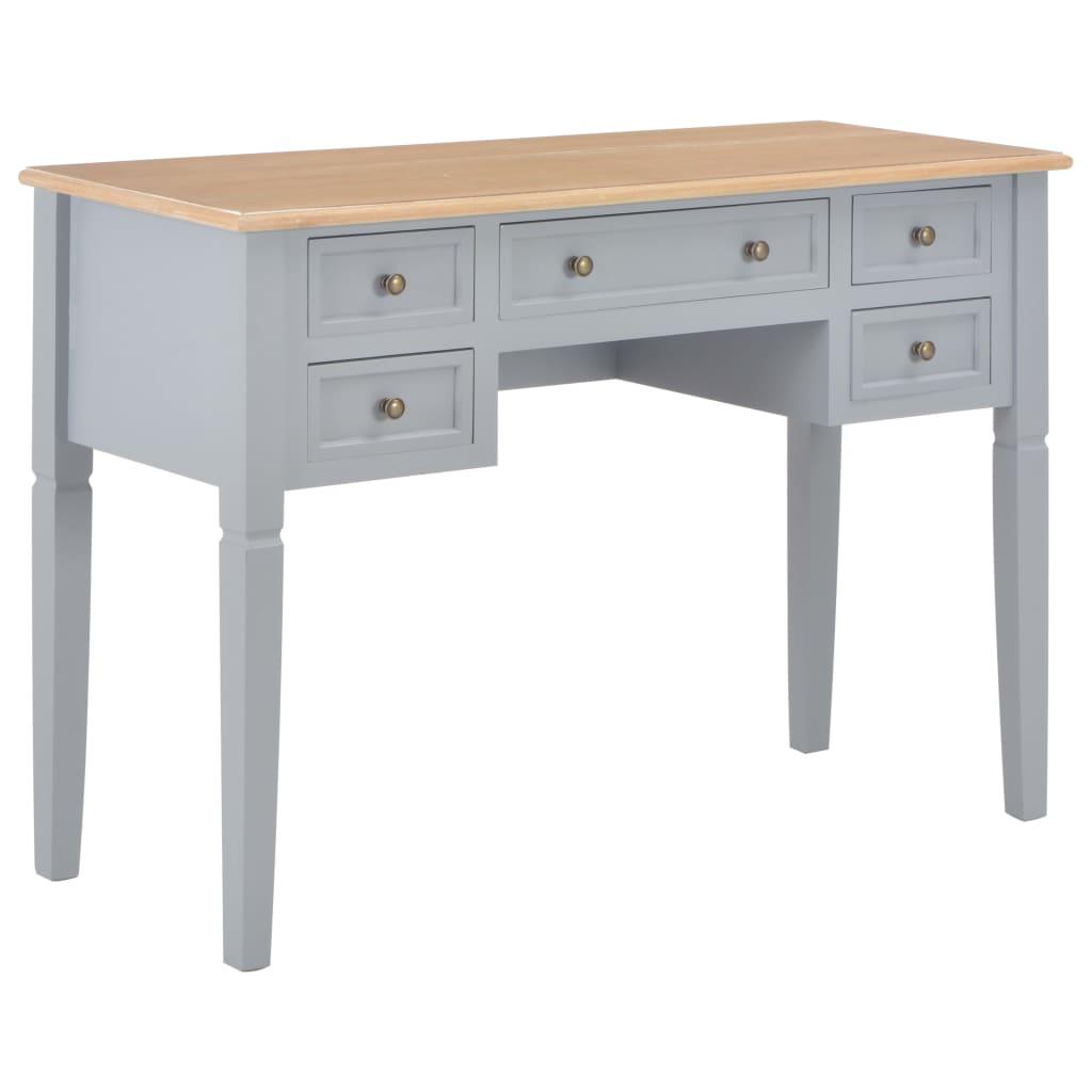 vidaXL Písací stôl, hnedý a sivý 109,5x45x77,5 cm, drevo