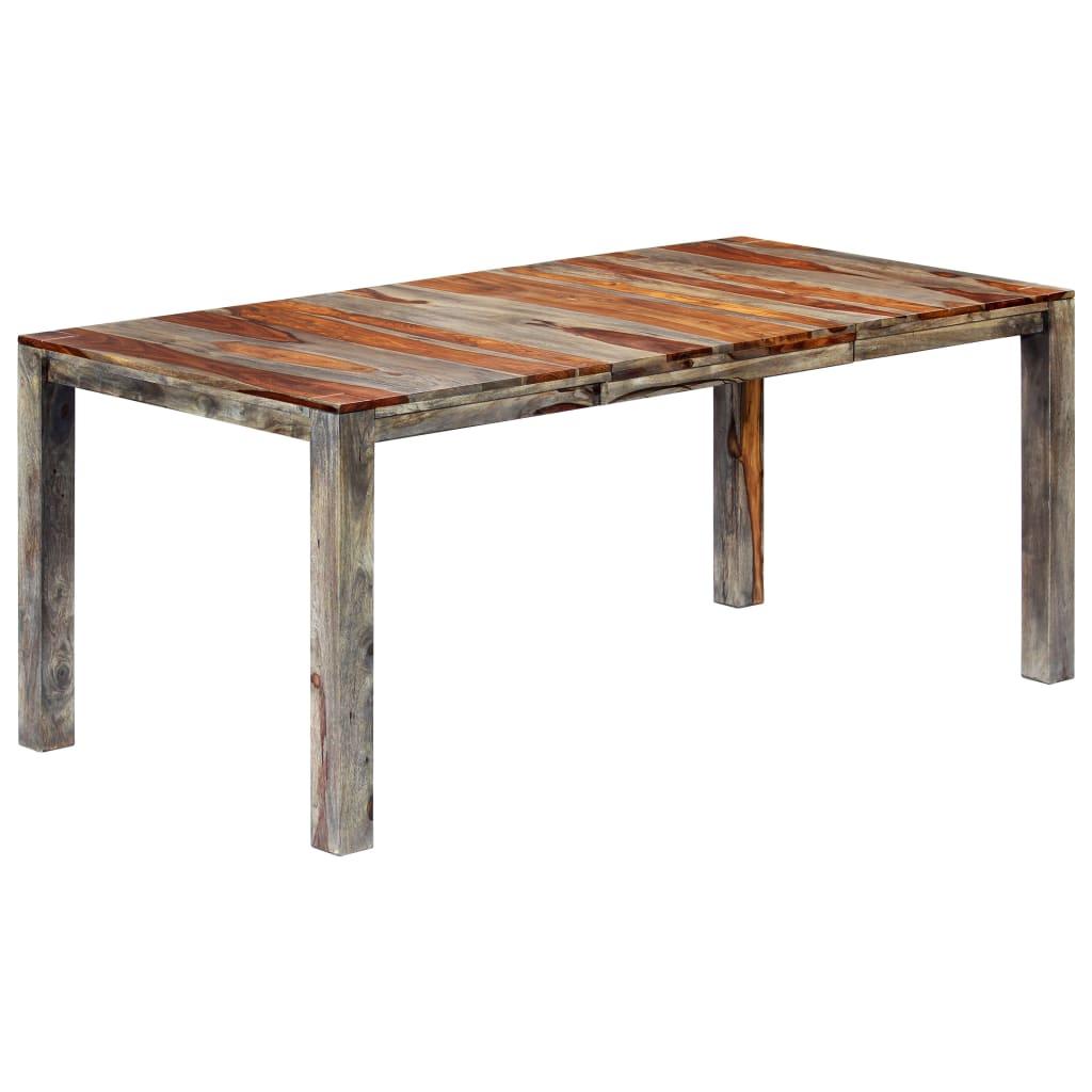 vidaXL Jedálenský stôl sivý 180x90x76 cm masívne sheeshamové drevo