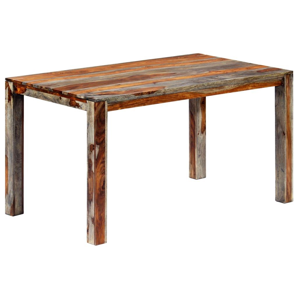vidaXL Jedálenský stôl sivý 140x70x76 cm masívne sheeshamové drevo