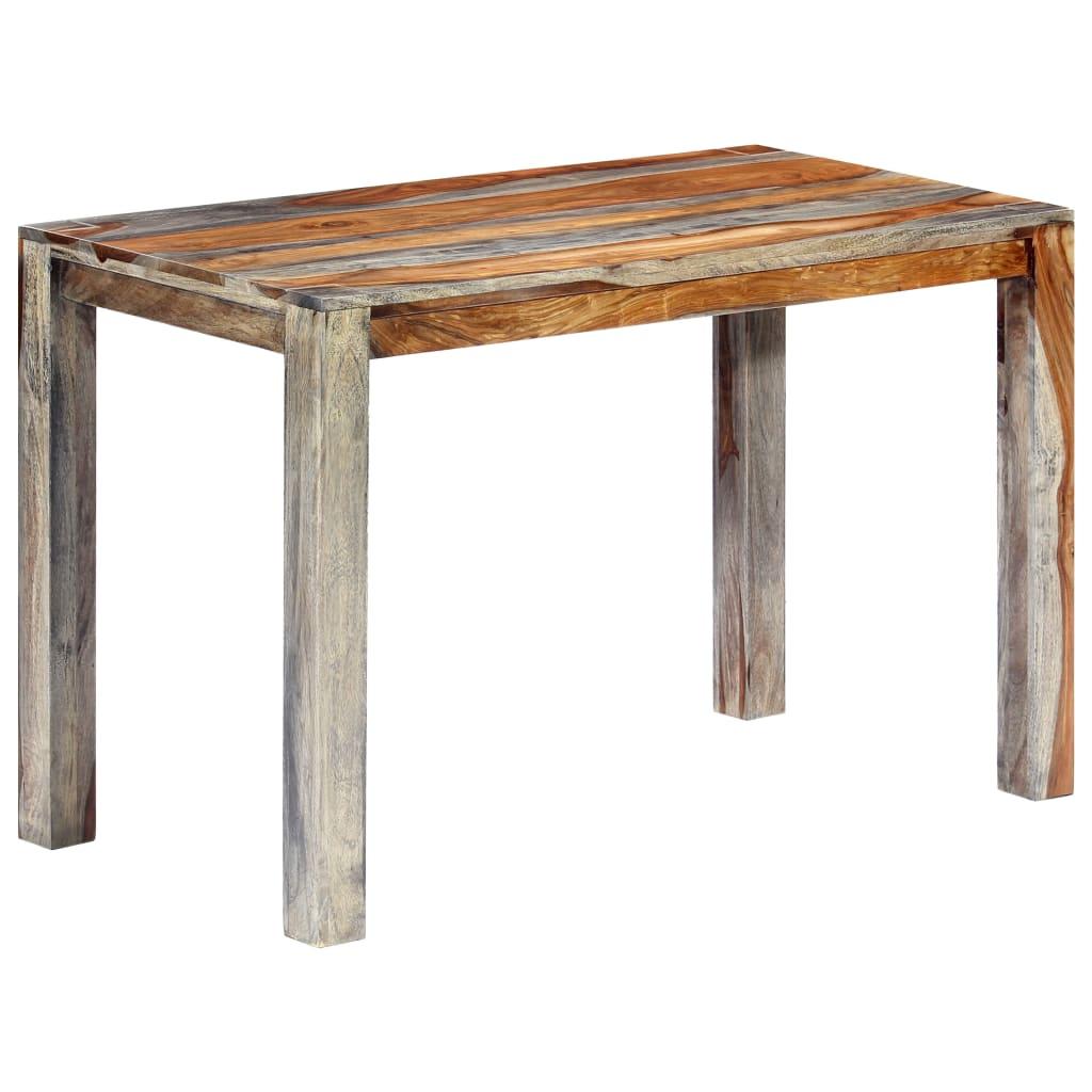 vidaXL Jedálenský stôl sivý 118x60x76 cm masívne sheeshamové drevo